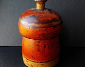 Antique Tikka Box Container Indian Carved Wood Wooden Paint Distressed Victorian 1800s