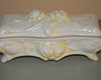 Oblong Cream and Yellow Trinket Box-Ceramic-Creek Turn Pottery