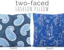 Dark Blue Paisley Pillow Cover 18x18, Navy Blue Pillow, Denim Blue Pillow, Blue Pillows, Throw Pillow, Toss Pillow, Picking Paisleys