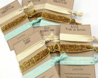 Personalized Hair Ties Wedding Party Favors Bachelorette Party Favor Maid of Honor Hair Tie Party Favors Will You Be my Bridesmaid Hair Ties