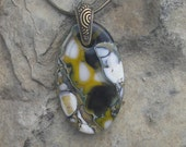 Earthy Yellow and Black Necklace Fused Glass Stone Look Pendant  Jewelry