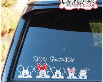 Mickey & Minnie Peeking Family Vinyl Car Decal Sticker