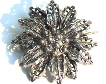 Petite Sterling Silver Flower Brooch, Open Work, Filigree Brooch, Lapel Pin