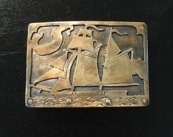 The Baltmore Clipper belt buckle  bronze sailing ship ocean belt buckle