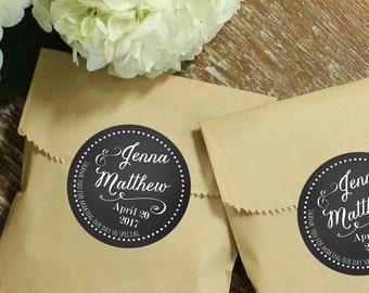 24 Wedding Favor Bags with Personalized Labels | Jenna Label Design | Wedding Favors | Bridal Shower Favors | Kraft Favor Bags