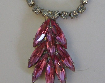Vintage Crystal Rhinestone Neclace with Pink Fuchsia Pendant and Matching Pierced Earrings