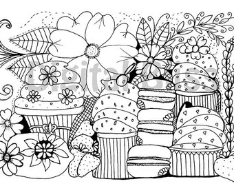 INSTANT DOWNLOAD Adult Coloring Page, Design Colouring Page, Flowers and Cupcakes Coloring Page , Kids Colouring Page, Kids Craft Activity