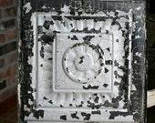 "Genuine Antique Ceiling Tile -- 12"" x 12"" -- Crackled White Paint -- Pretty Framed Design"