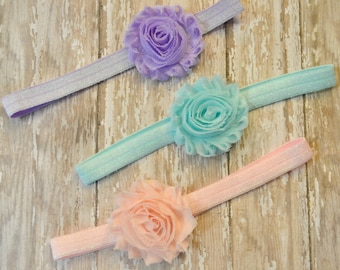 Set of 3 Shabby Chiffon Flower Headbands, Pastel, Shimmery Elastic Headband, Baby Headband, Photo Prop, Lavender, Light Blue, Light Pink