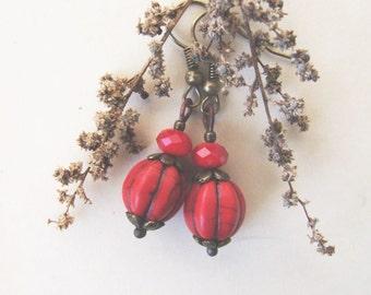 Bohemian Earrings, Natural Red Dangle Earrings, Howlite Jewelry, Nature Inspired, Boho Jewelry, Boho Earriings