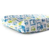 Changing pad cover FUN TRACTORS for contoured pad- blue green change mat cover- baby boy bedding- baby fitted slipcover -FARM changing cover