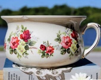 Chamber Pot,  DAMAGED Porcelain Potty, Vintage Planter, Made in England 13129