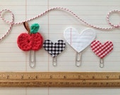 Back to School 4 Clip Set Crocheted Apple Clip Notebook Paper Stitched Black Gingham Red Gingham