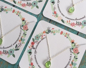 Bridesmaid Necklace Set, Light Green and Silver Bezel Necklace, Matching Bridesmaid Necklace, Bridesmaid Packaging, Sterling Silver
