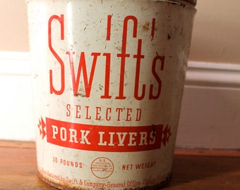 The Other White Meat.. Vintage Swift's Selected Pork Livers Bucket, Kitchen Decor