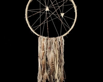 Large Dream Catcher, Fabric Wrap, Hanging Waterfall of Mixed Yarn, Feathers, Shells, Fabrics