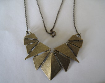 Antiqued Brass Geometric Necklace