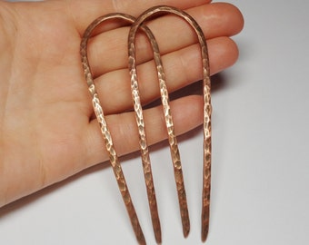 Boho Hair Accessories - Set of 2 Hammered Copper Hair Pins - Hair Fork - Boho Hair - Hipster Fashion - Hair Barrette - Handmade Gift for Her
