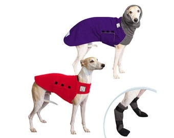 WHIPPET Cold Climate Special, Winter Dog Coat, Fleece Dog Sweater, Dog Booties, Winter Clothes, Dog Clothes, Dog Clothing, Dog Apparel,