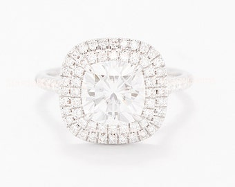 sale - CERTIFIED - Cushion Forever One Moissanite Cushion & Diamond Double Halo Ring - 14K White Gold