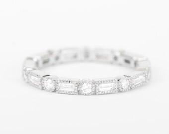 CERTIFIED - E-F, VVS-VS Baguette & Round Diamond Wedding Full Eternity Band 14K White Gold