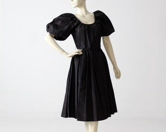 vintage 60s party dress, black taffeta dress with puff sleeve