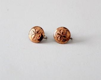 vintage copper screw back earrings, hammered flower earrings