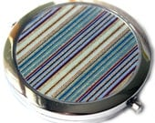Blue Stripe Chiyogami Compact Mirror