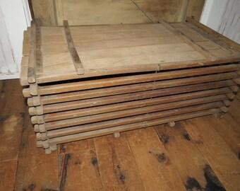 Vintage Large Wooden Slat Egg Crate.