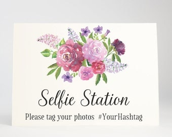 Selfie Station Sign, Social Media, Wedding Signage - Garden Blooms, Size 5 x 7, Printed Sign