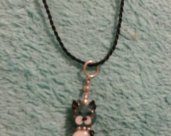 Glass kitty necklace