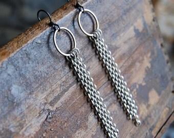 Pewter Ring & Chain Earrings