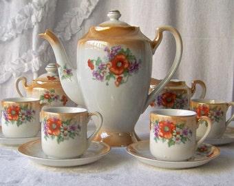 Vintage Lusterware Tea Service for Four Moriyama Occupied Japan Vintage 1940s