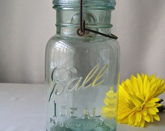 Antique Aqua Blue Ball Ideal Mason Jar Quart Glass Canning Jar circa 1908