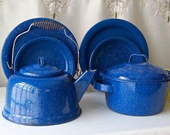 Vintage Blue Enamelware Camping Set Blue Speckled Tea Kettle Bean Pot Plates Bowls Backyard Fun Enamel Dinnerware 1960s