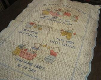 Three Little Pigs Vintage Baby Quilt