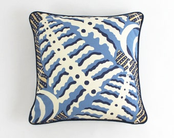 ON SALE Quadrille Ferns Blue Beige on Tint Both Sides with Navy Welting (18 X 18)