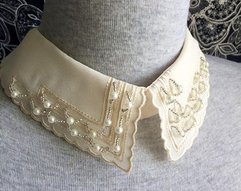 Vintage Necklace -1 pcs Light Beige Chiffon Necklace or Handmade Collar (A420)