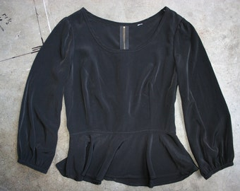 Vtg Rayon Crepe Puff Sleeve Peplum Fitted Blouse Size Small to Extra Small