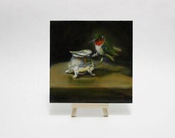 Original Oil Painting Hummingbird Bird Still Life by Pandalana Williams
