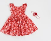 Valentine's Day Peasant Dress with Flutter Sleeves and Headband Set Sizs 2T and 3T are Ready to Ship - RTS