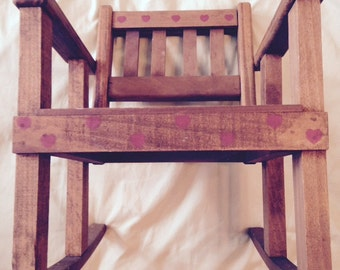 Doll or Teddy Bear Size Stained Wooden Folk Art Rocking Chair With Stenciled Red Heart Border