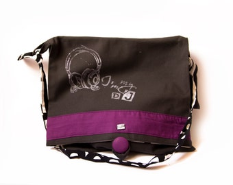 record tote BAG handprinted - messenger - canvas black and purple fabric