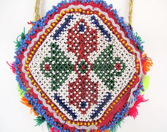 Tribal Shoulder Bag with Glass Beaded Flower Design from Afghanistan