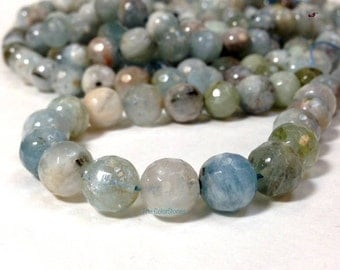 Natural Aquamarine Stone 9.5 MM Faceted Round Beads - Natural Color - March Birth Stone -No Dyed No Heat Treated (MJ1032W95PG-BHM8)