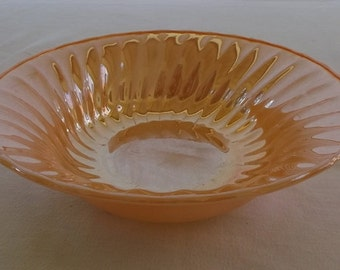 Vintage Milk Glass Bowl, Peach Lusterware, Swirl Bowl, Anchor Hocking Fire King