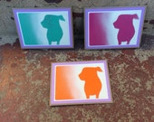 ARF Stencil Card Set With White And Pale Purple Trim.