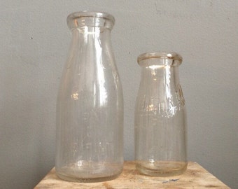 Vintage Milk Bottles Union Dairy Chicago, Il. Half pint embossed and 6 cent Store one pint embossed bottle.