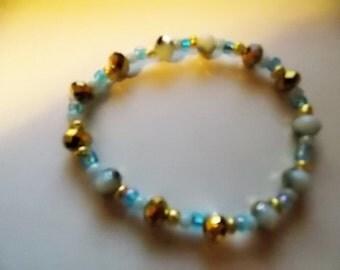 Milky Blue & Gold Glass Bead Bracelet