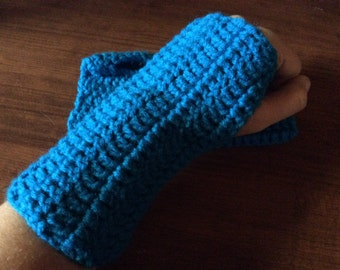 Blue Pool Crochet Fingerless Gloves Wrist Warmers